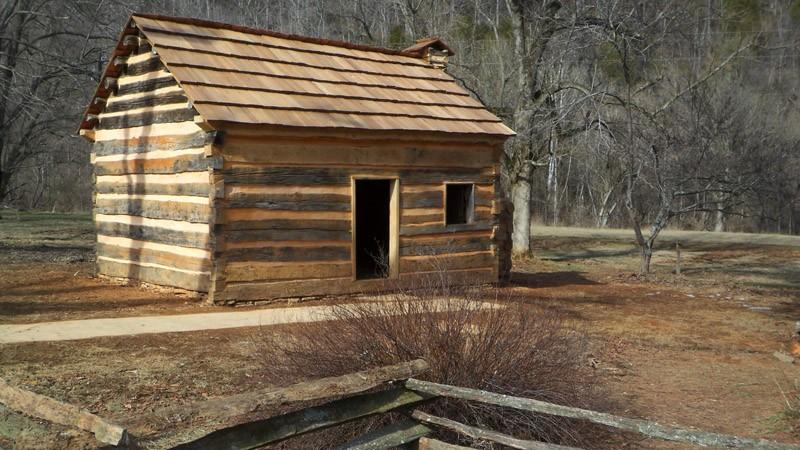 Restored log cabin at Abraham Lincoln Boyhood Home at Knob Creek, photo courtesy of NPS.