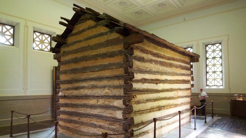 The symbolic cabin, once thought to be the birth cabin of Abraham Lincoln.