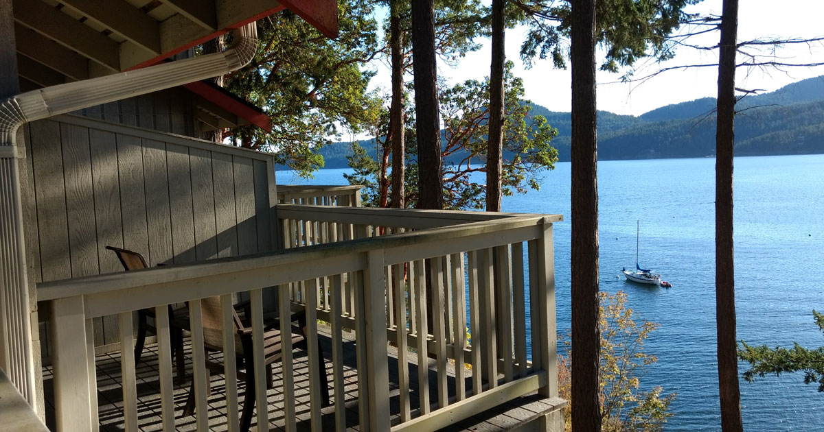 Tranquil view from Rosario Resort on Orcas Island, WA