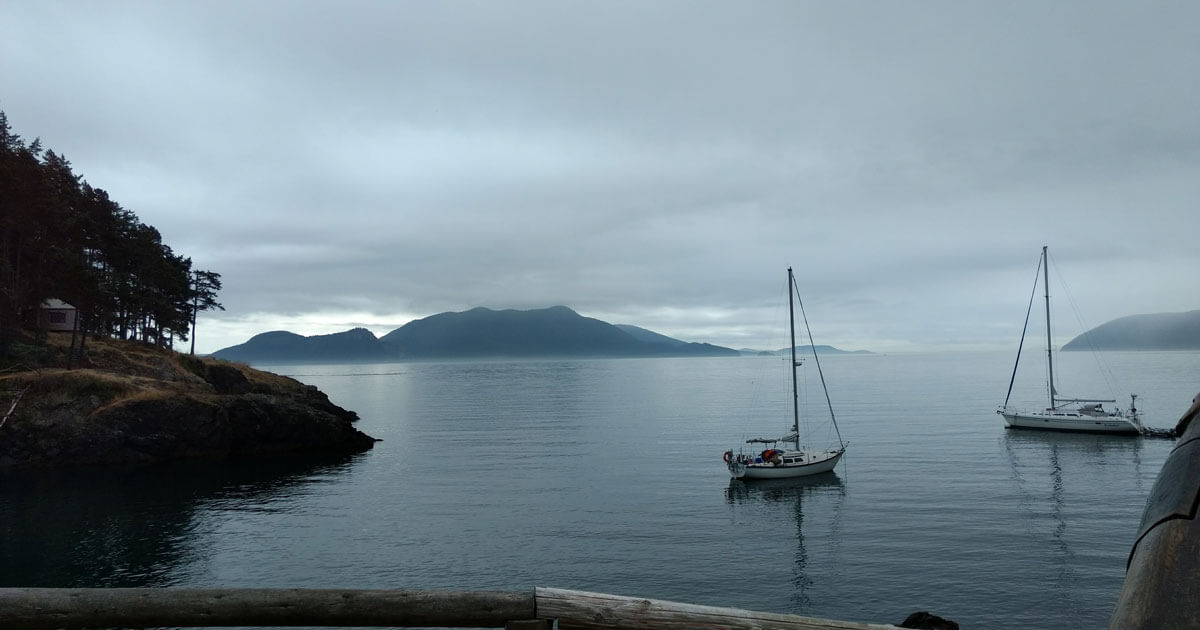 Serene Doe Bay on an overcast afternoon.
