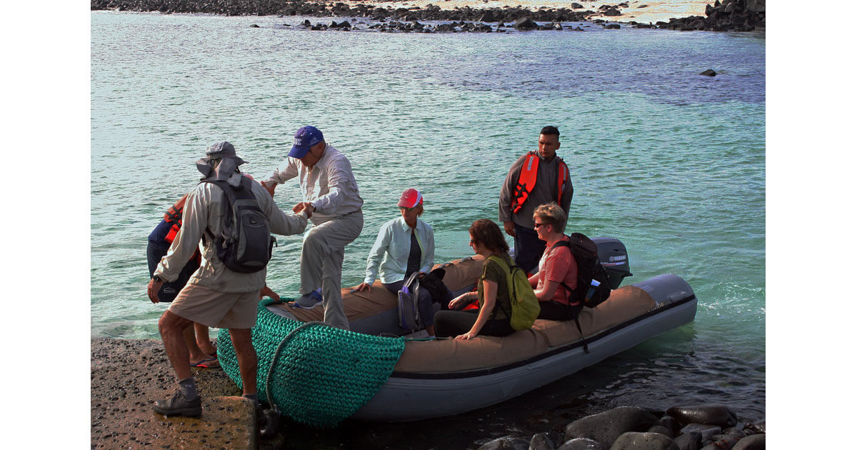 To get from our yacht to the islands of the Galapagos, we rode in dinghies