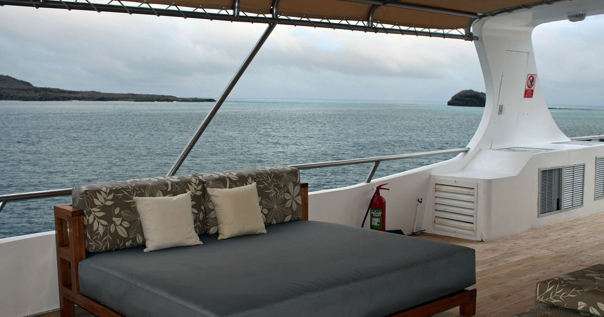 The upper deck of the Latin Trails Sea Star yacht in the Galapagos