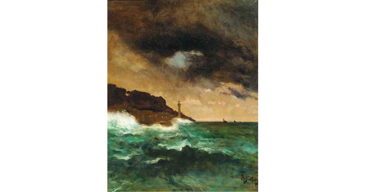 Alfred Stevens - Lighthouse at Dusk