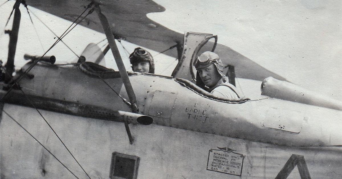 Monthan Oscar and wife Army nurse Mae in plane