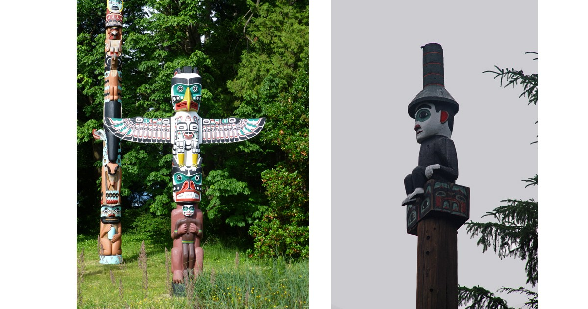 Totem Pole and Shame Pole showing Seward