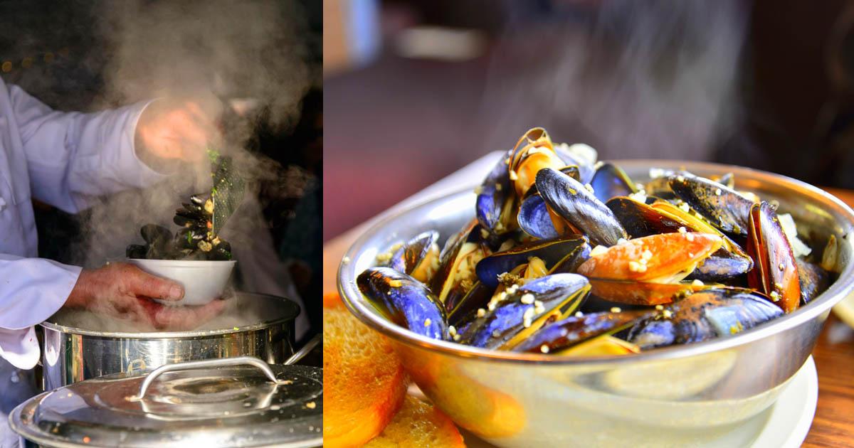 Steaming Mussels (c) Jack Penland & Penn Cove Mussels (c) Kurt Winner