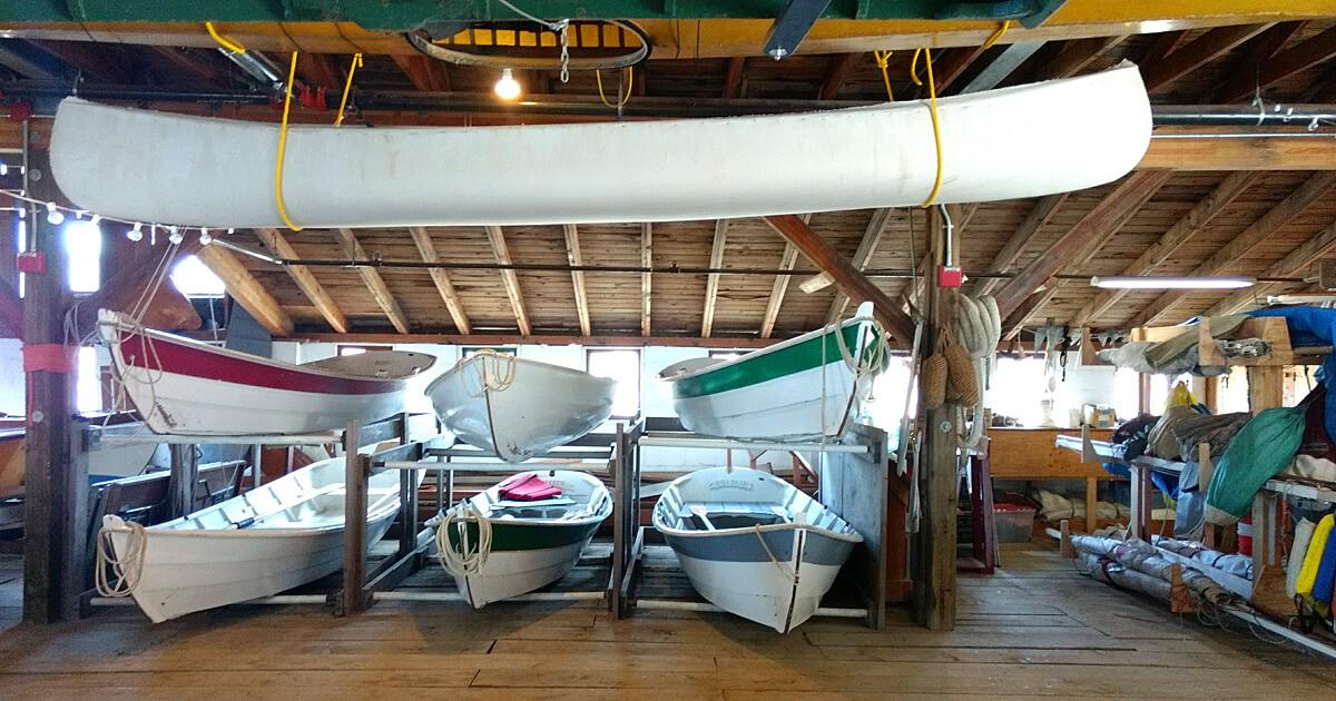 Canoes, sail and rowboats.