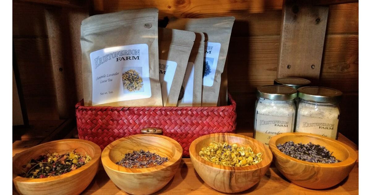Organic lavender, teas and sugar at Kristoferson Farm