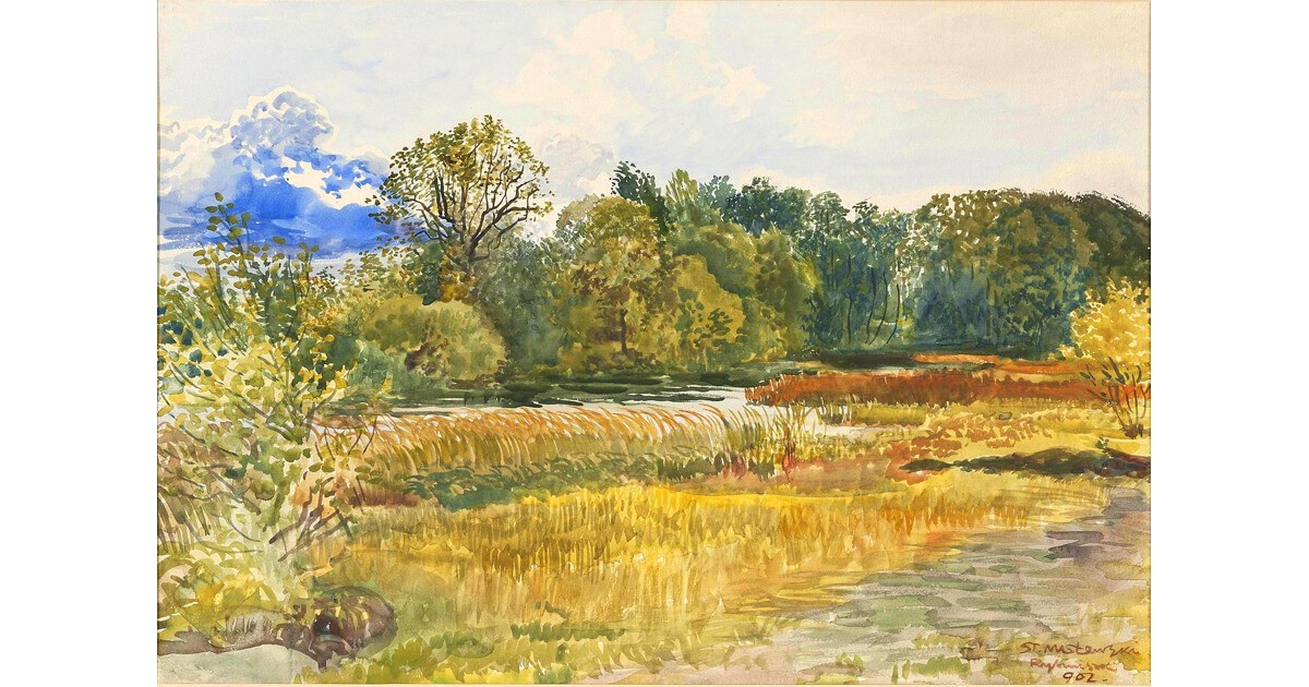 Autumn Landscape in Rybiniszki, c. 1902, Staniséaw Maséowski
