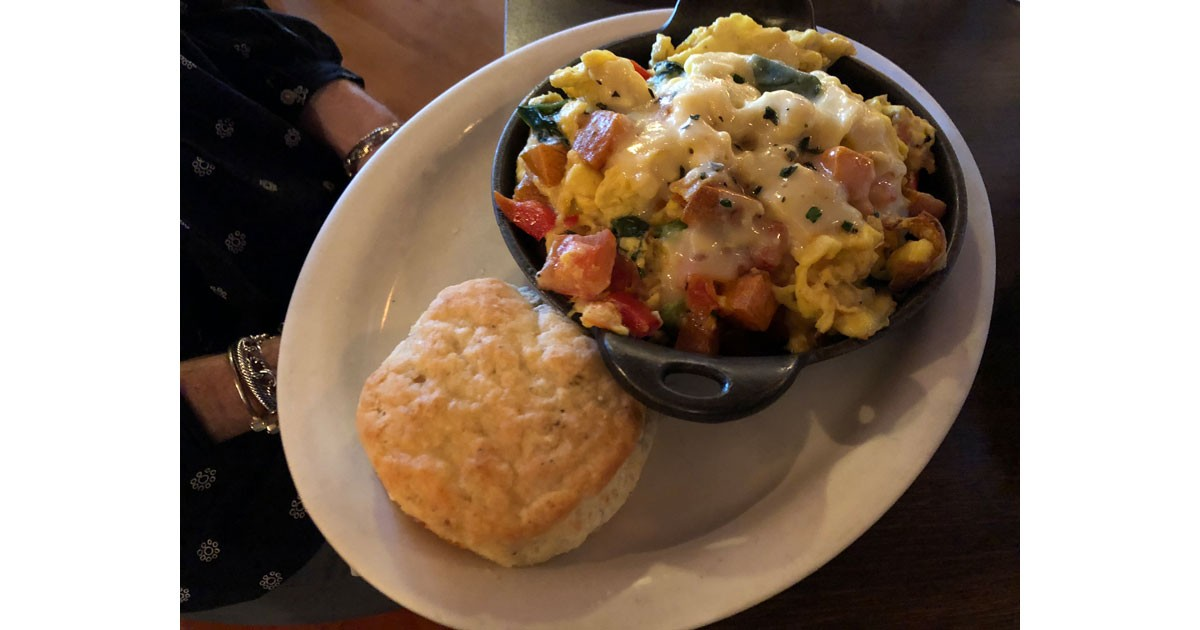 Big Bad Breakfast scramble and biscuit.