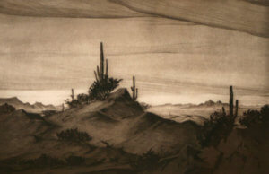 Gerry Peirce - desert dry point etching