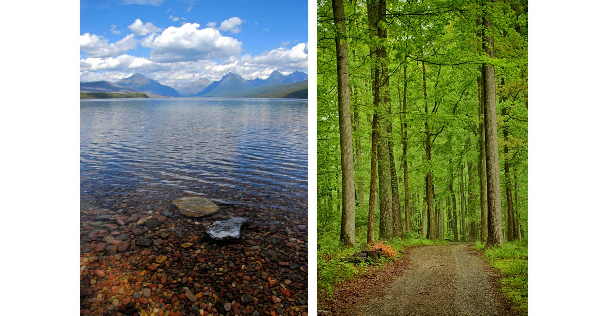 Big Sky Reflections at Glacier National Park & Springtime Green at Catoctin Mountain Park. Photos by Jim Schlett