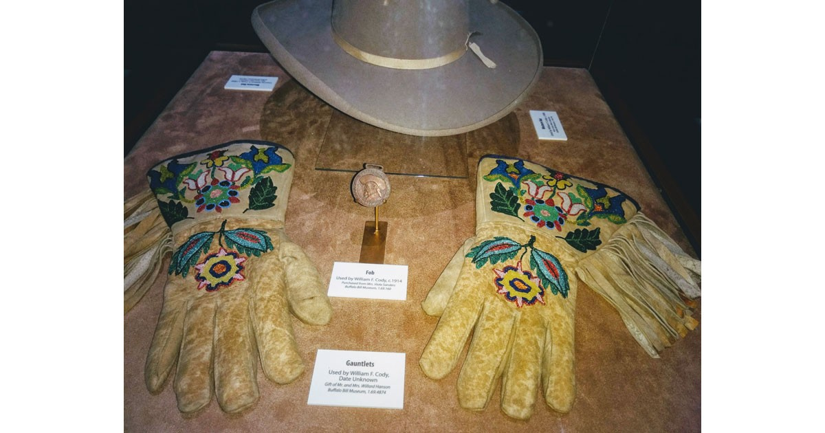 Bill Cody's Gauntlets and hat at the Blackwell Museum.