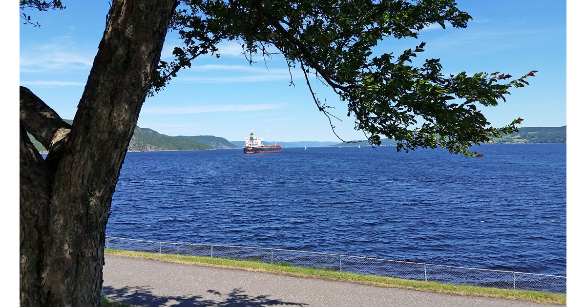 Cargo ship at the municipality of La Baie on the Saguenay Fjord