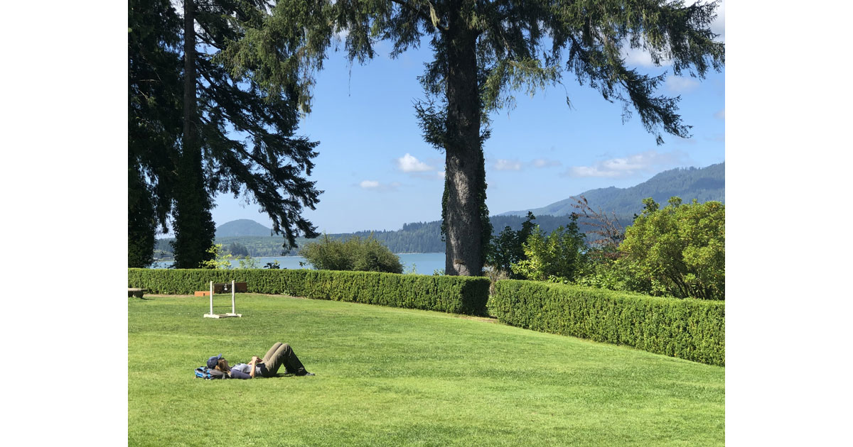 Catching rays on the grassy carpet of Lake Quinault Lodge