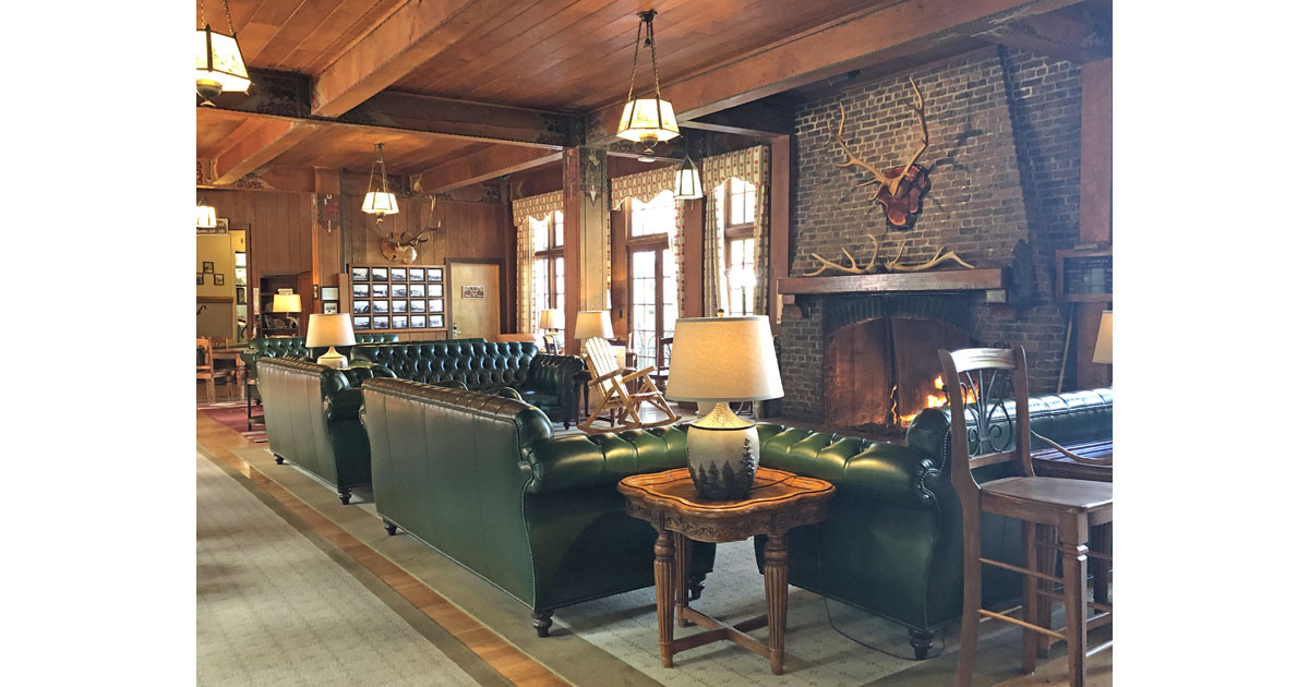 Cozy lobby at Lake Quinault Lodge