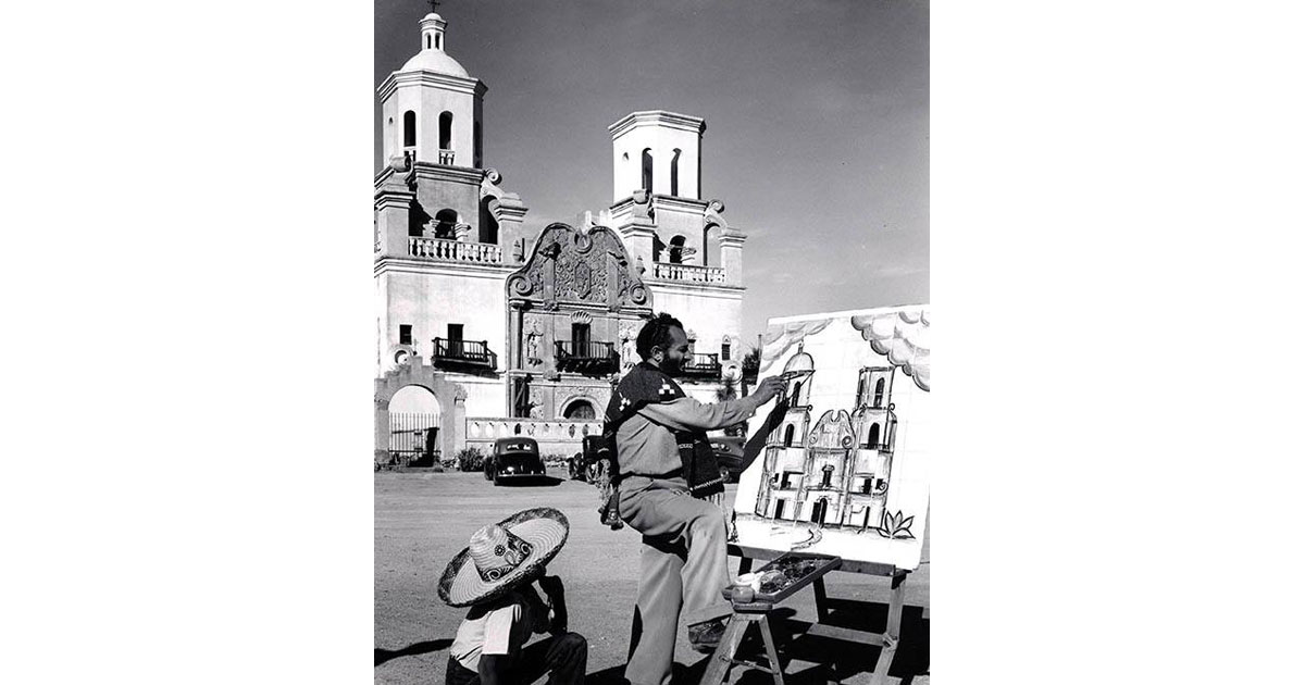 "Working on a painting of the San Xavier Mission, DeGrazia was photographed by National Geographic and appeared in an article titled ""From Tucson to Tombstone"" in 1953."