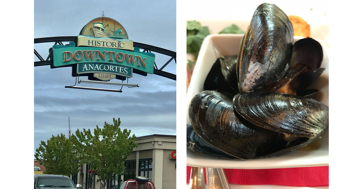 Downtown Sign and Mussels in White Sauce