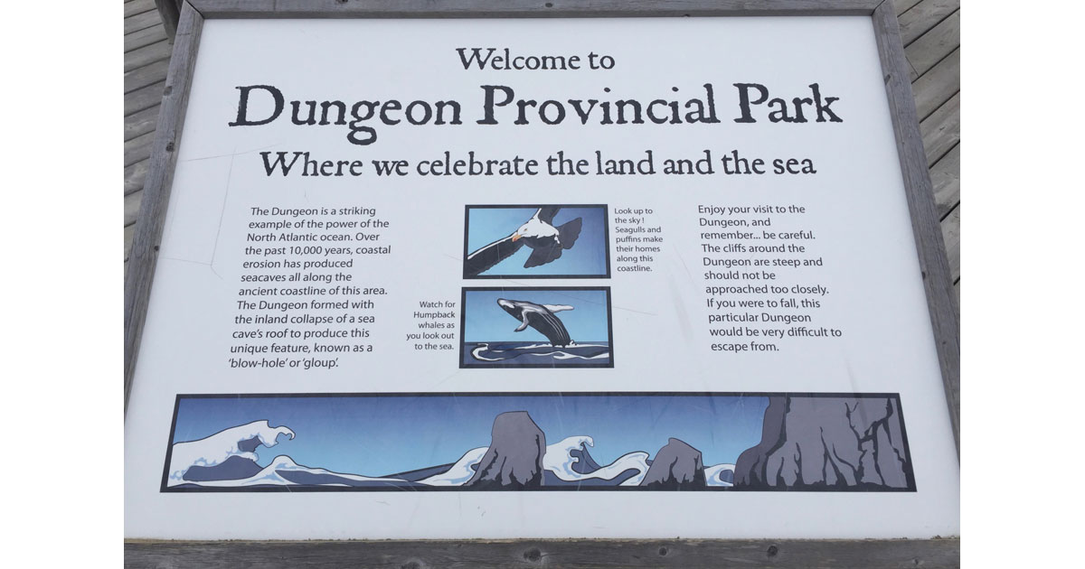Dungeon Provincial Park Sign