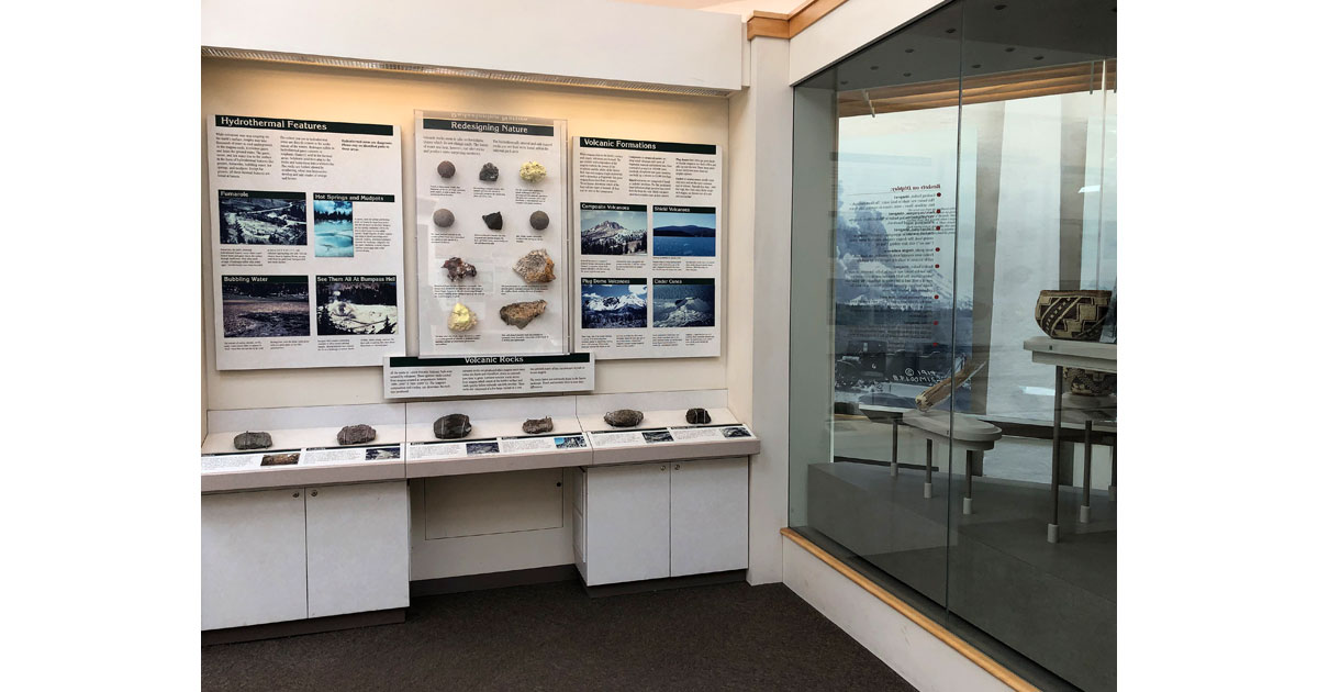 Exhibits at the visitor center detail the geology and history of the area.