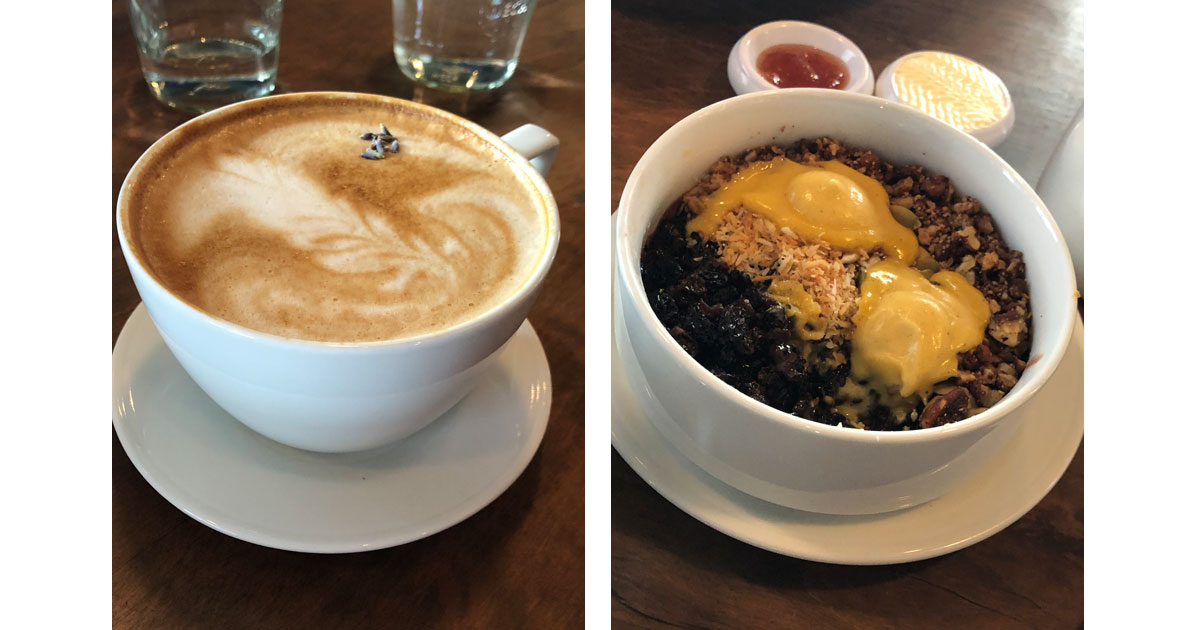 Lavender latte and Forbidden Porridge at CAMPO