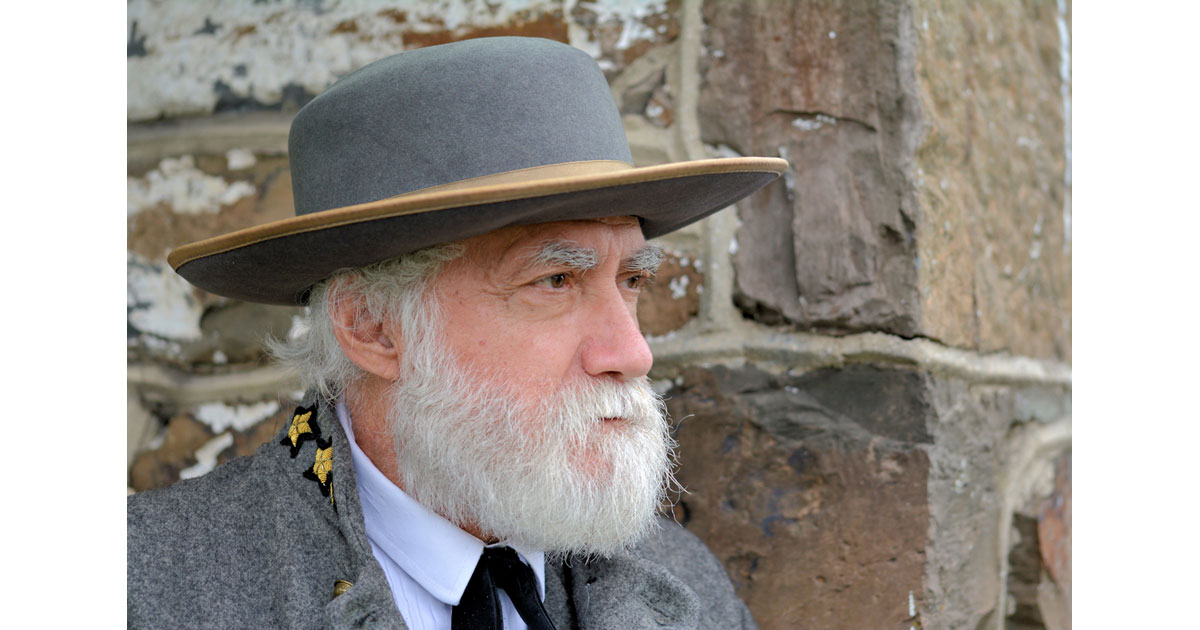 Frank Orlando as living historian and volunteer at Gettysburg as General Robert E Lee.  Photo by Jim Schlett
