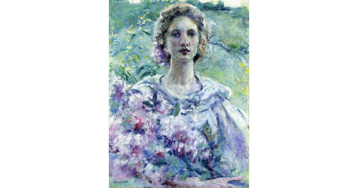 Girl with Flowers by Robert L. Reid