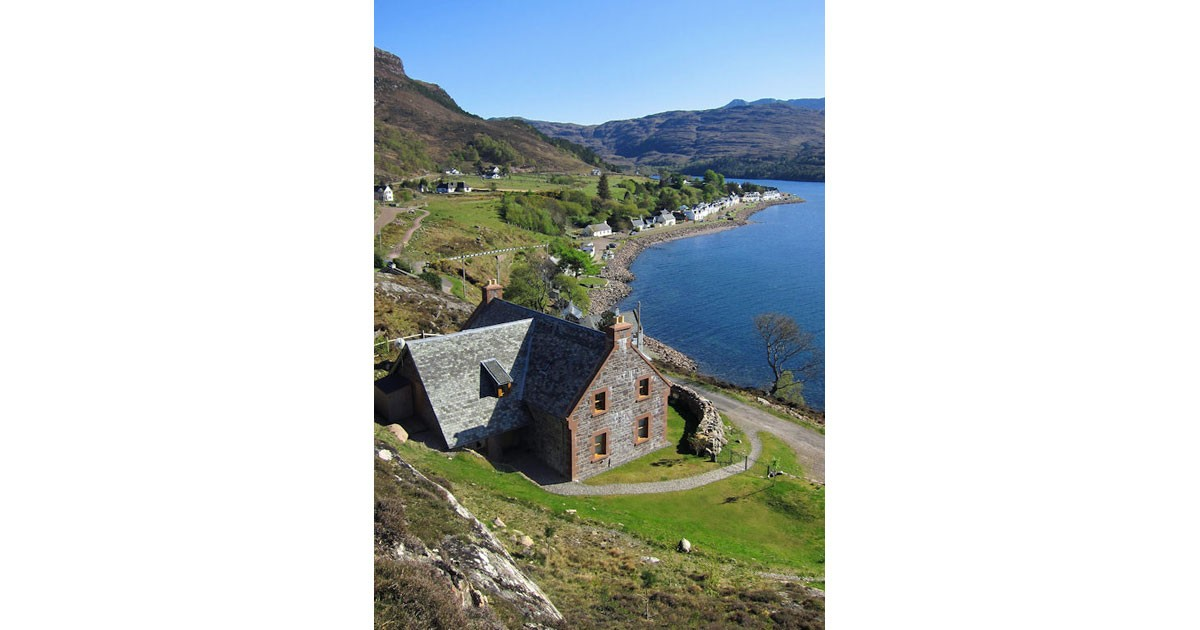 An Cos Shieldaig Luxury Vacation House looking towards the village by Steve Carter
