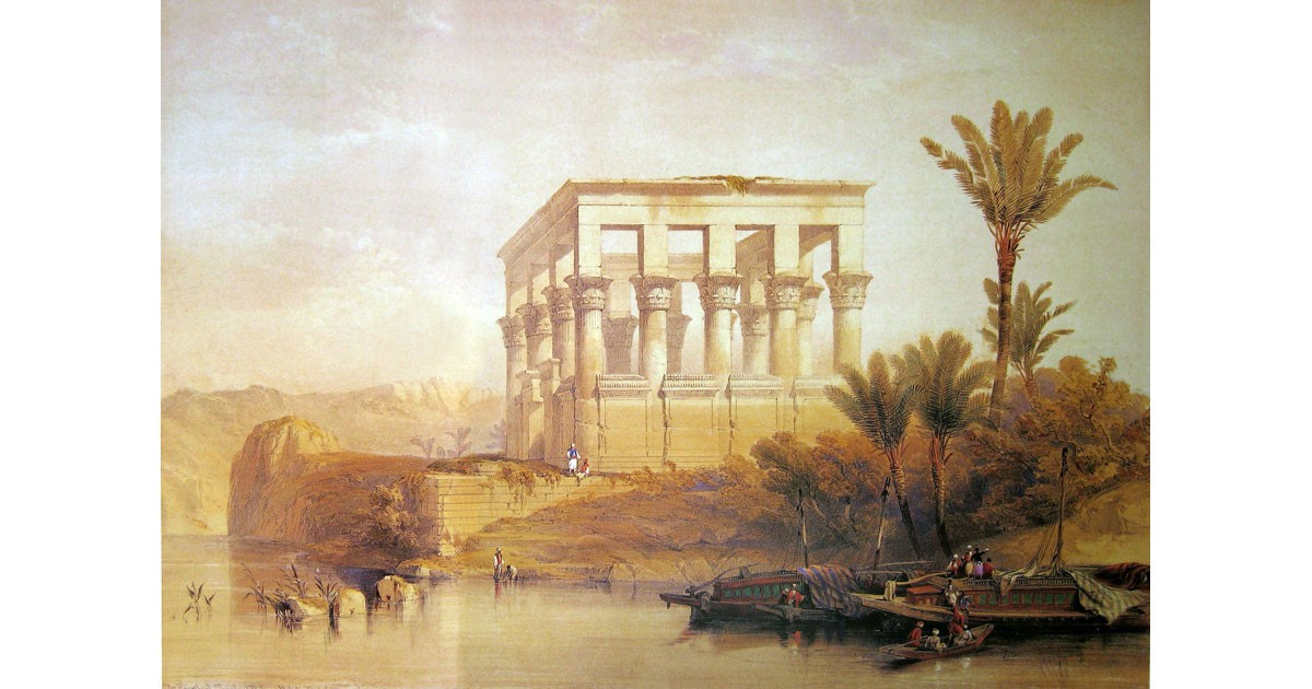 Hypaethral Temple on the Island of Philae by English artist David Roberts