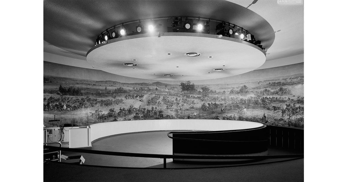 Interior view of the Gettysburg Cyclorama in the former, Neutra building location