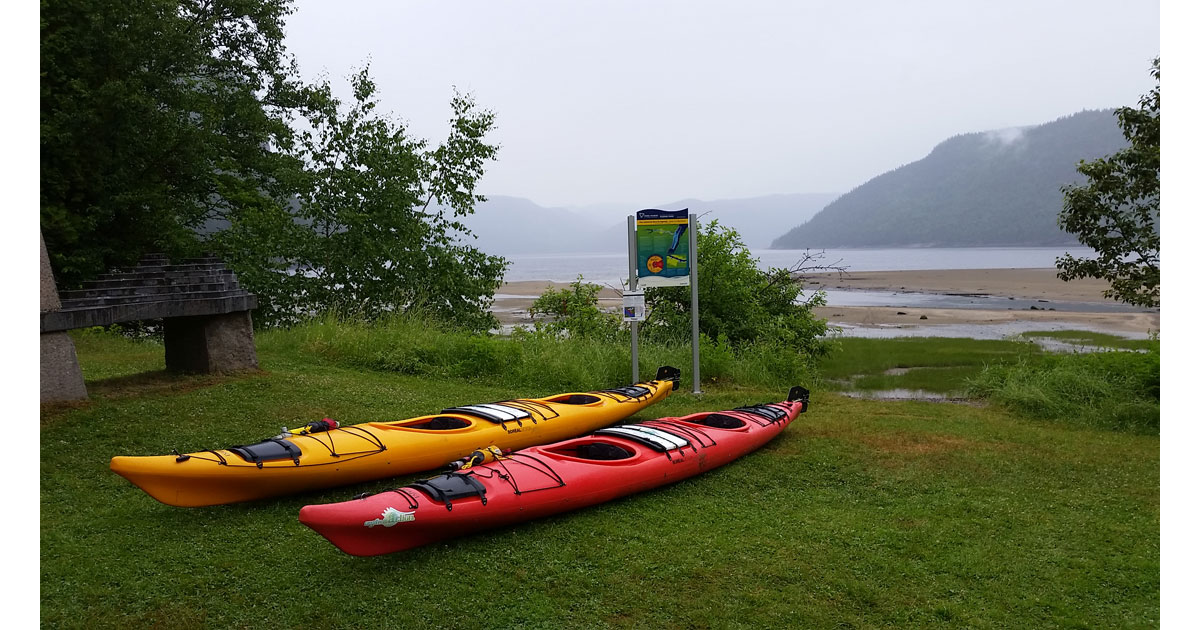 Kayaks near water at Saguenay Fjord National Park