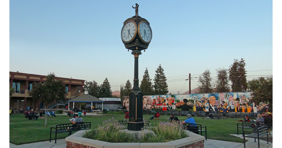 Marching Through Time Mural in Centennial Plaza Park in Porterville
