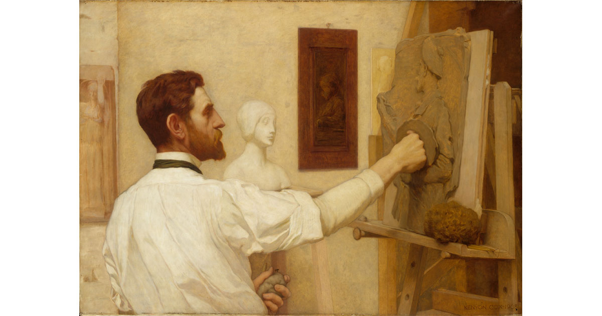 Painting of Saint-Gaudens working in his studio by Kenyon Cox