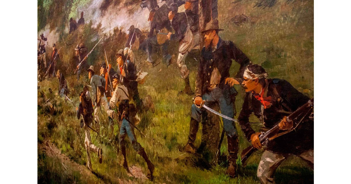Gettysburg Cyclorama - Paul Philippoteaux painted himself into the battle scene