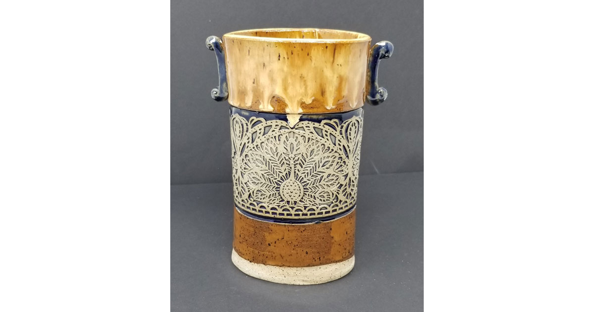 Peacock vase by Andrea Boswell