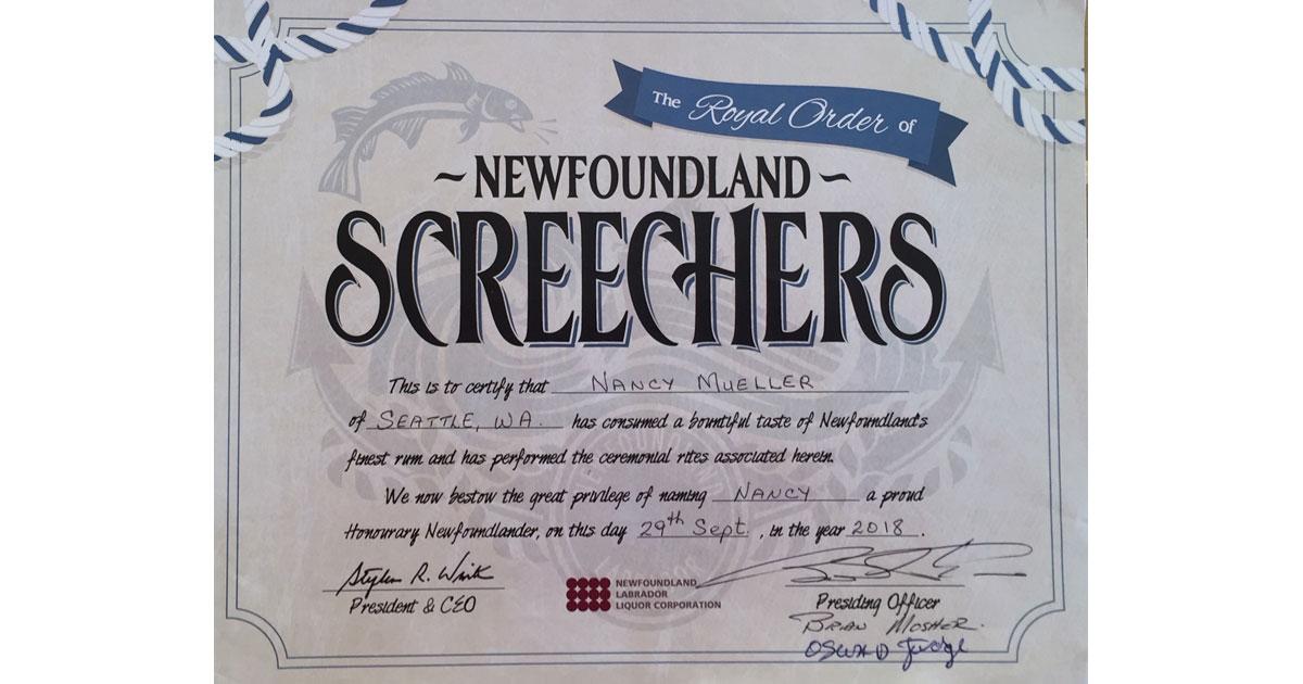 Screechers Certificate