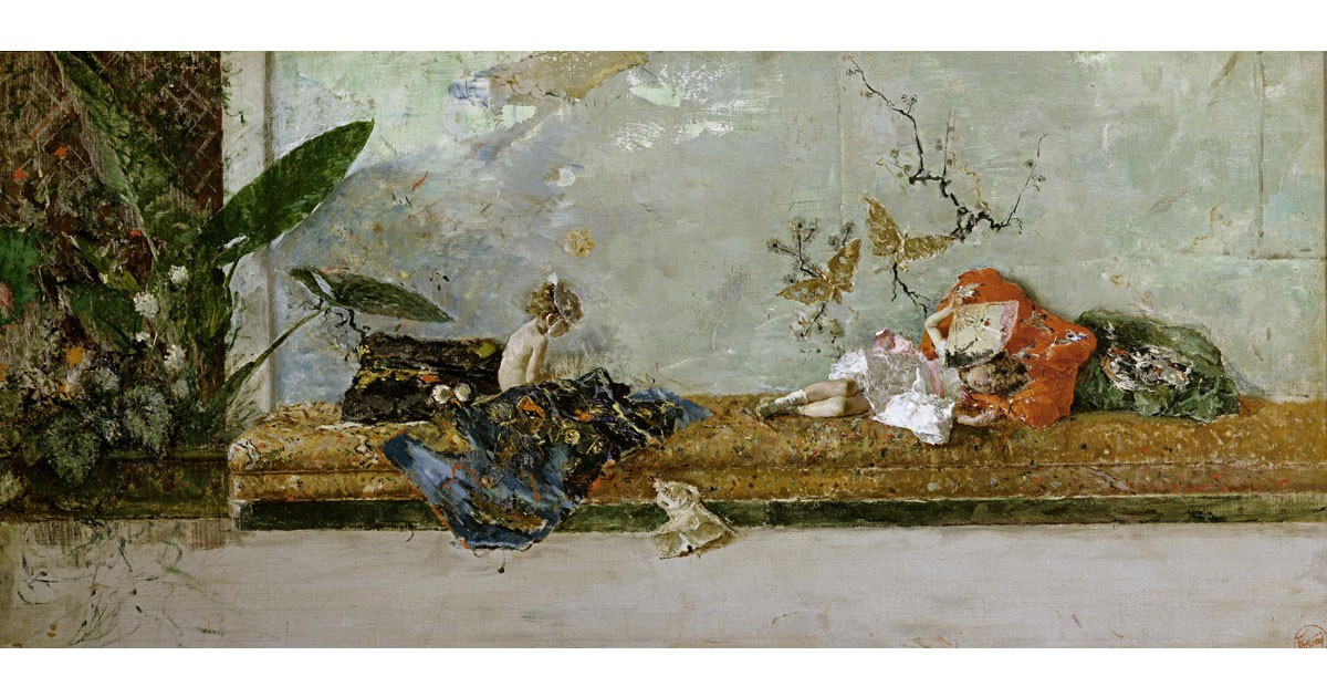 The Artist's Children in the Japanese Salon by Spanish artist Mariano Fortuny