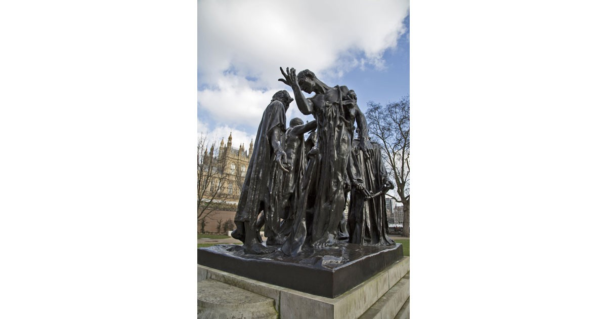 The Burghers of Calais by Auguste Rodin, in London UK. Photo by George Hodan in public domain