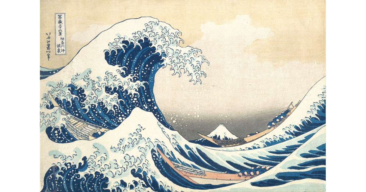 The Great Wave off Kanagawa. Japanese color woodcut by Hokusai