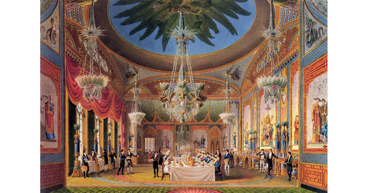 The richly decorated Banqueting Room at the Royal Pavilion, from John Nash's Views of the Royal Pavilion