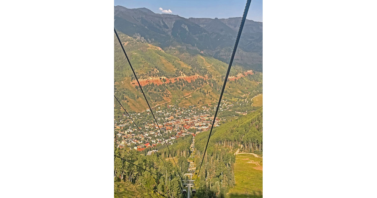 View of Telluride from gondola.