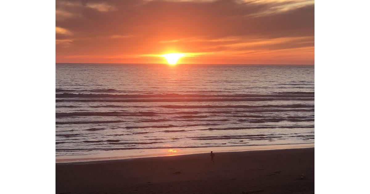 Vivid sunset on the beach