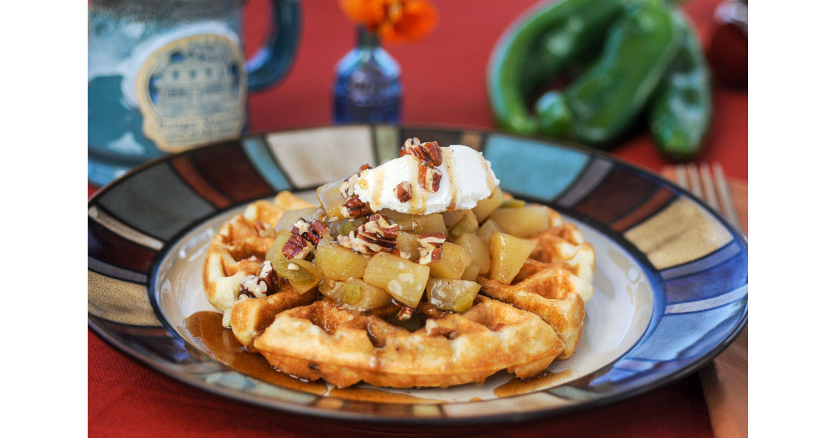Waffles with apple-green chile compote