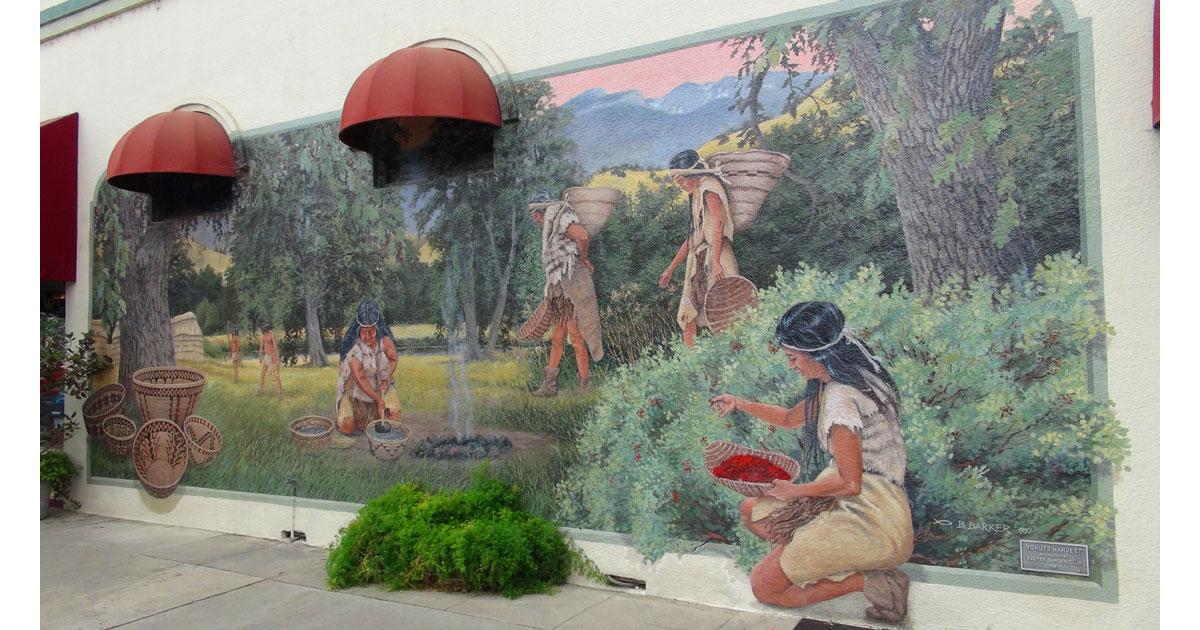 Yokuts Harvest Mural in Exeter by artist Ben Barker