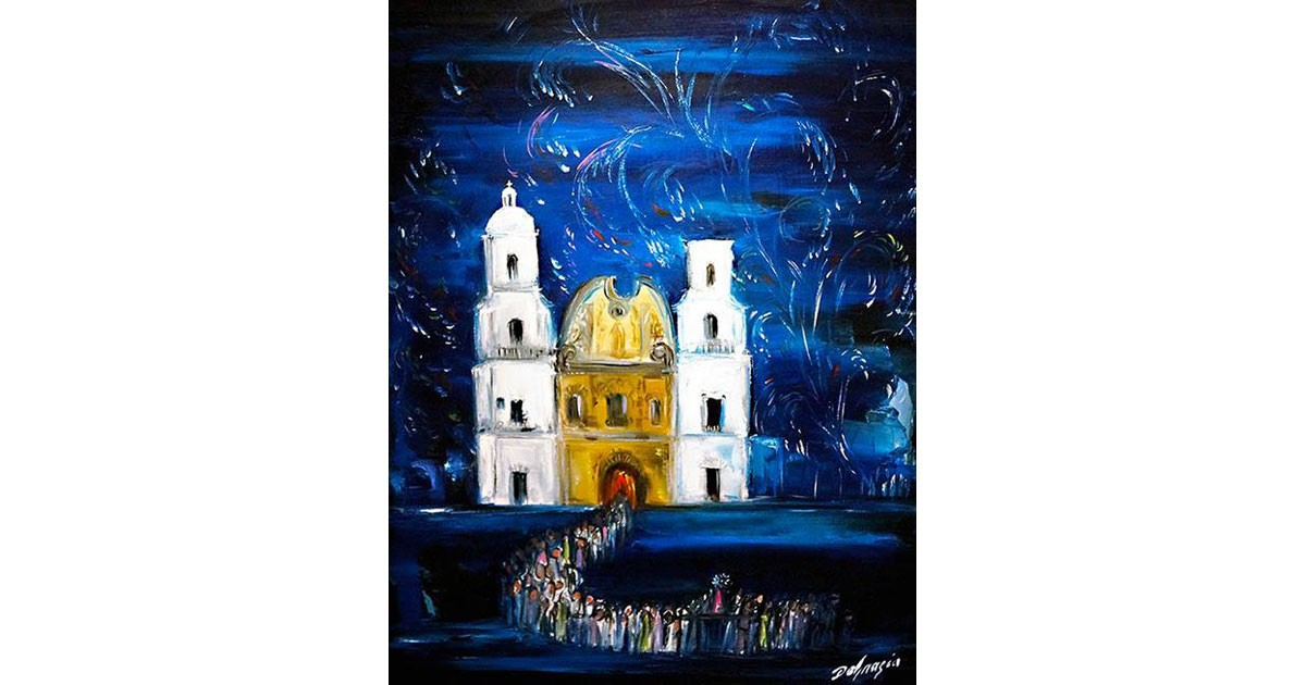 "DeGrazia's ""Fiesta at San Xavier"" in the 'DeGrazia and Padre Kino' permanent collection."