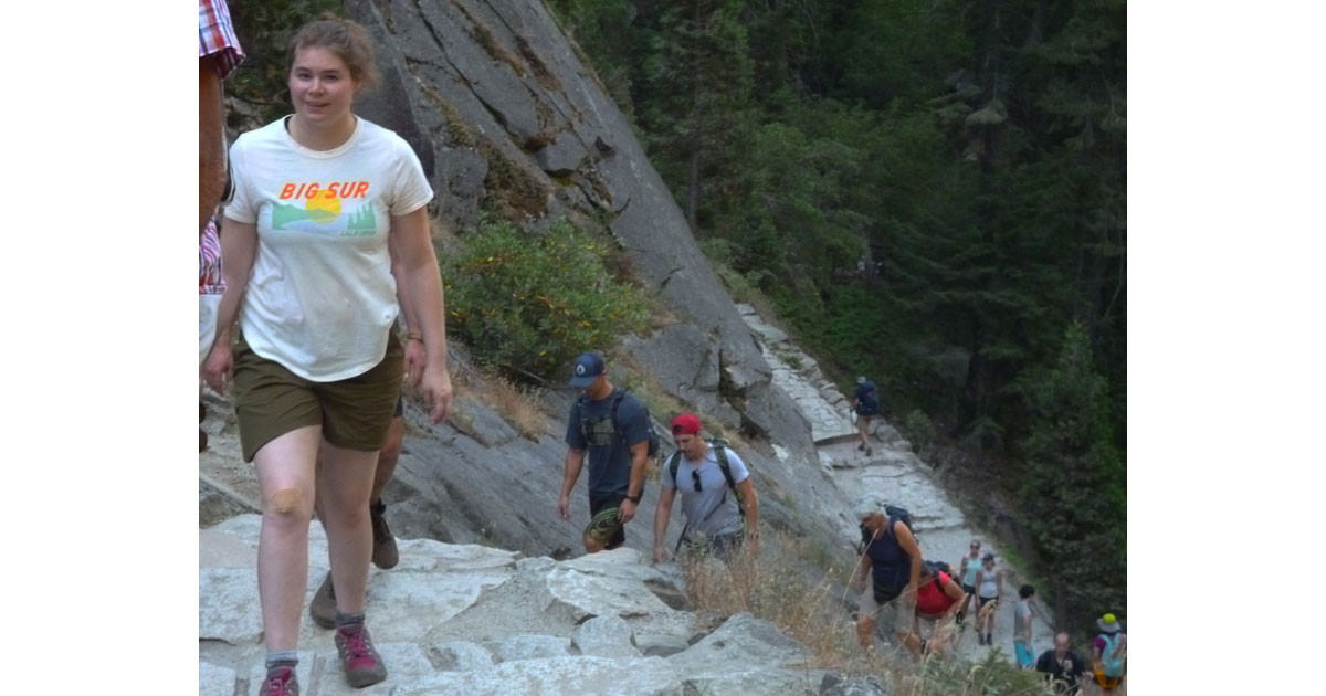 Hikers on the Mist Trail