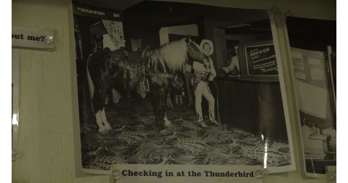 Rex Allen and Koko checking in at the Thunderbird Hotel