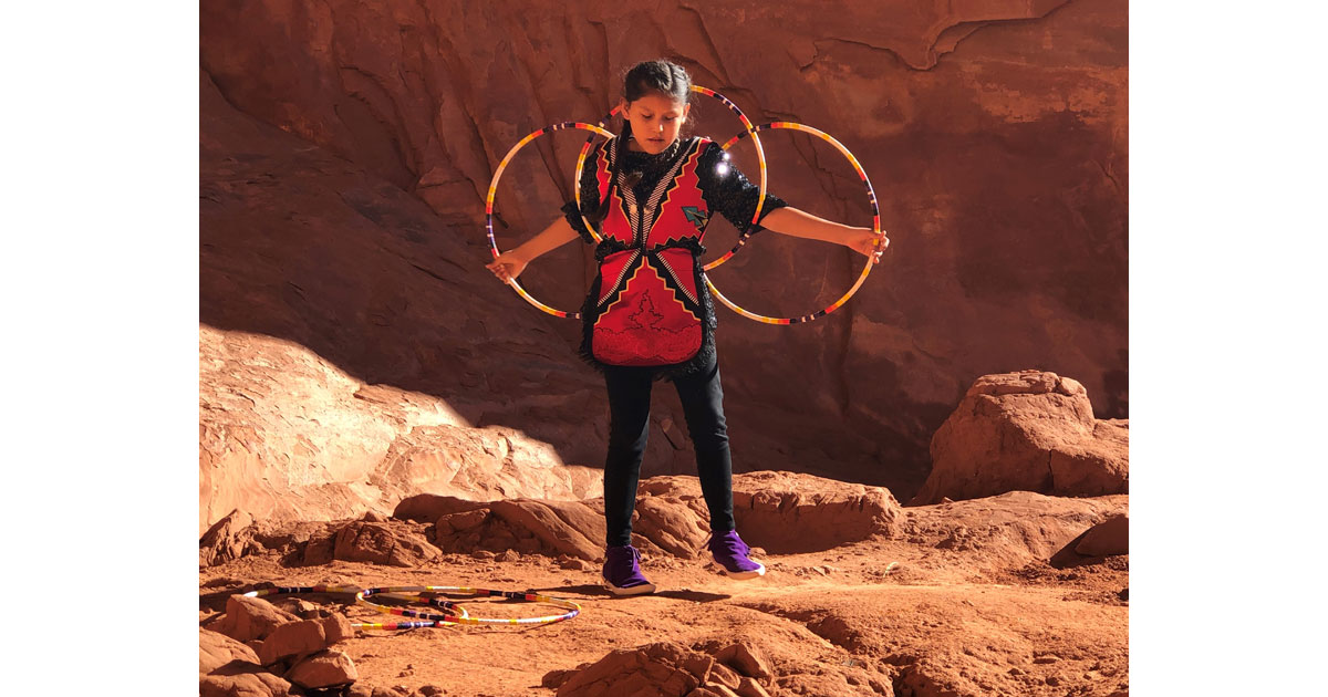Hoop dance by 10-year-old Ayanibaa