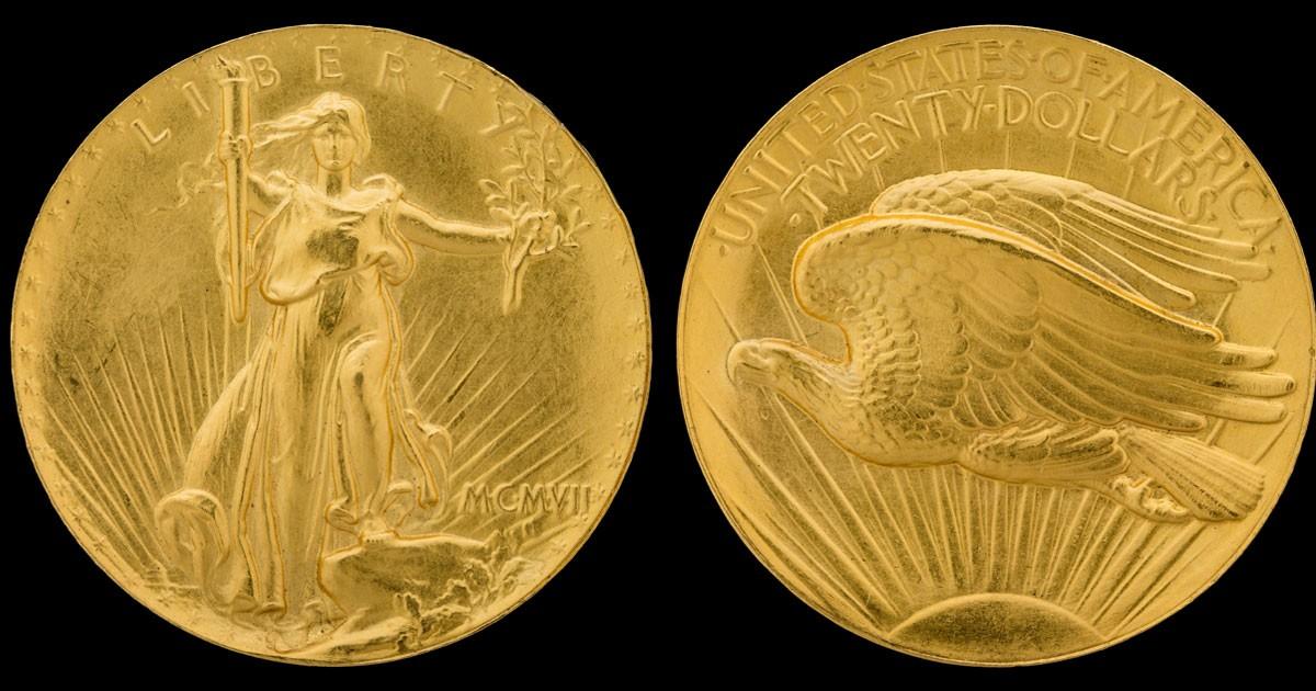 1907 Roman numeral ultra high relief double eagle coin. Saint-Gaudens' design